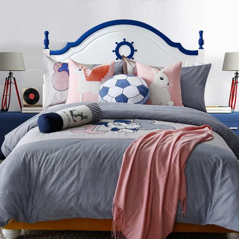 全棉儿童房宿舍单人床被套单件纯棉床品