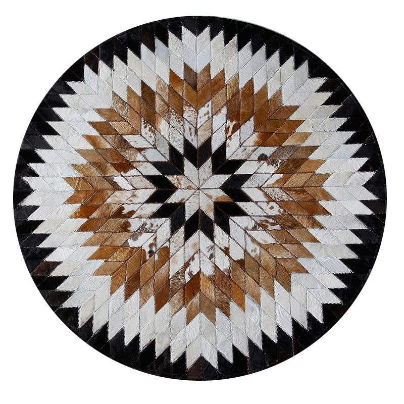 进口拼接牛皮地毯圆形