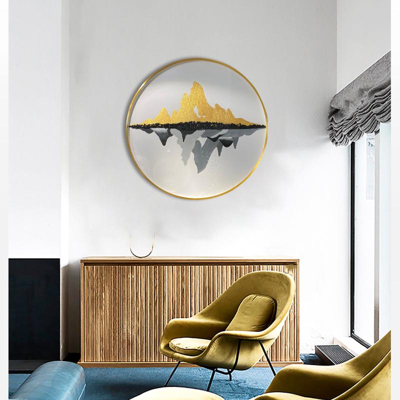 简约现代客厅极简装饰画-金银山水,玉山碧波