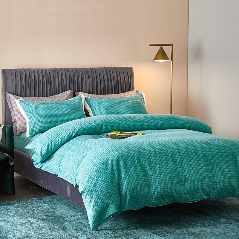 全棉活性磨毛肌理纹潘多拉(绿)系列床单床笠款