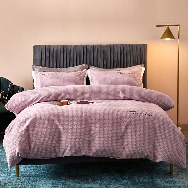 全棉活性磨毛肌理纹潘多拉(紫)系列床单床笠款