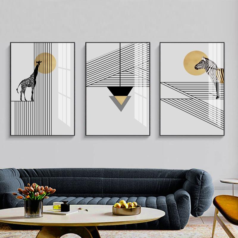 抽象几何动物三联装饰挂画3170054