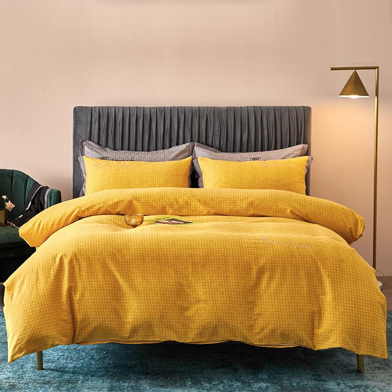 全棉活性磨毛肌理纹潘多拉(黄)系列床单床笠款