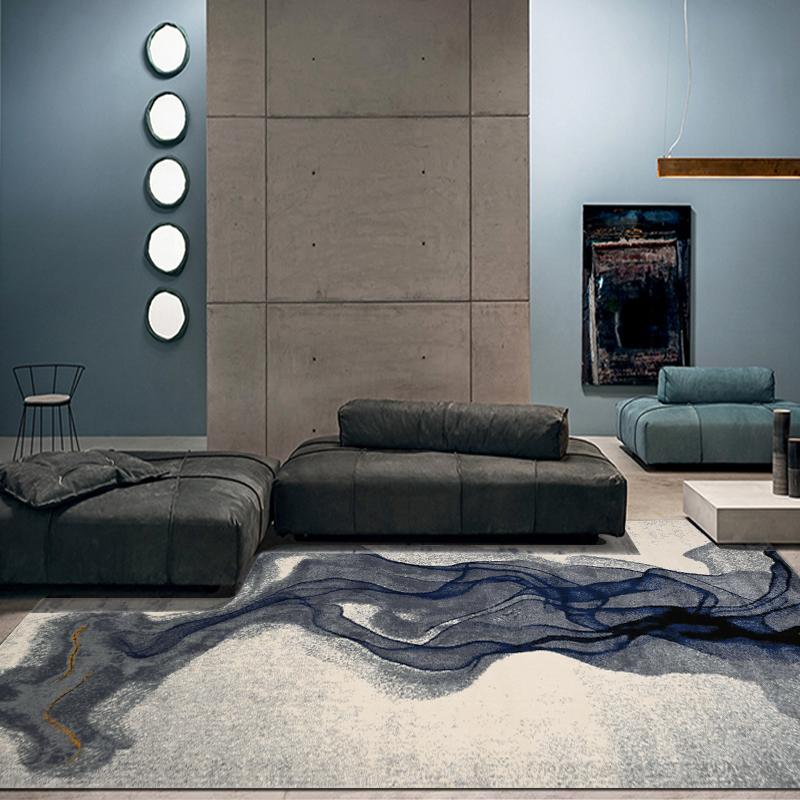现代样板房摆场客厅沙发满铺地毯梵高系列