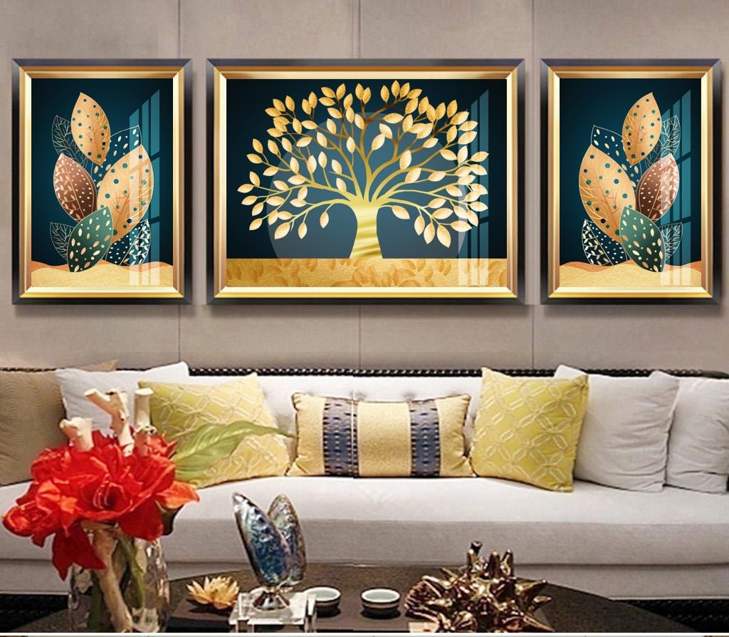 简约客厅装饰画抽象三联装饰画3170002
