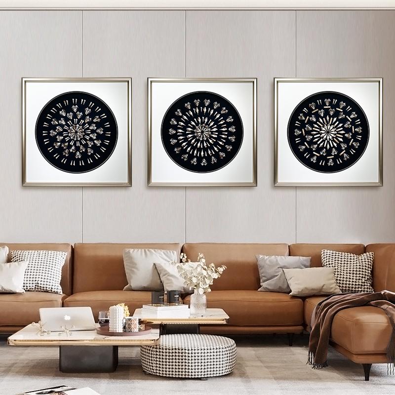 时尚简约现代客厅背景墙-贝壳