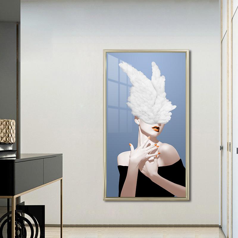 北欧玄关装饰画酒店大堂竖版装饰画羽毛美女