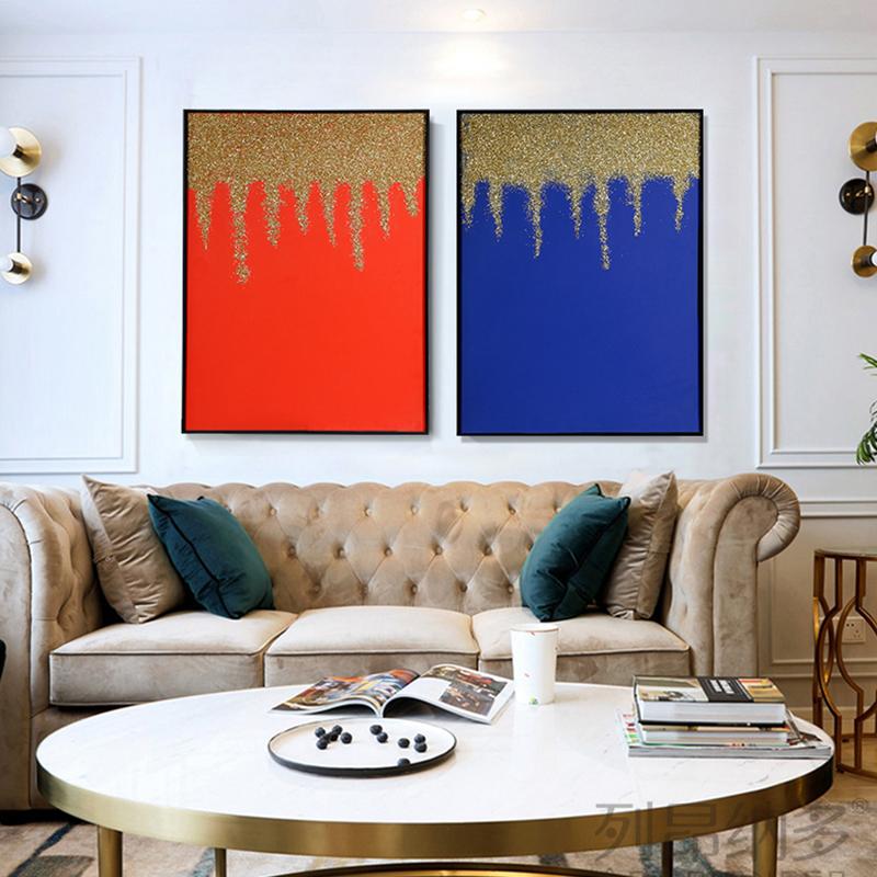 现代轻奢客厅背景装饰画鎏金岁月
