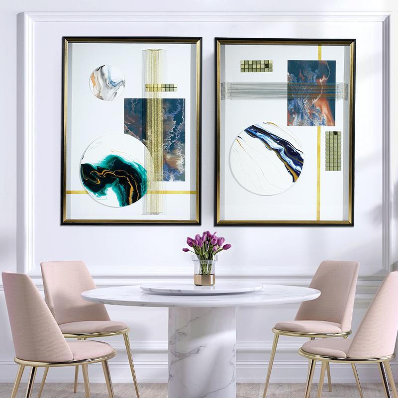 简约现代客厅玄关流体丝线装饰画