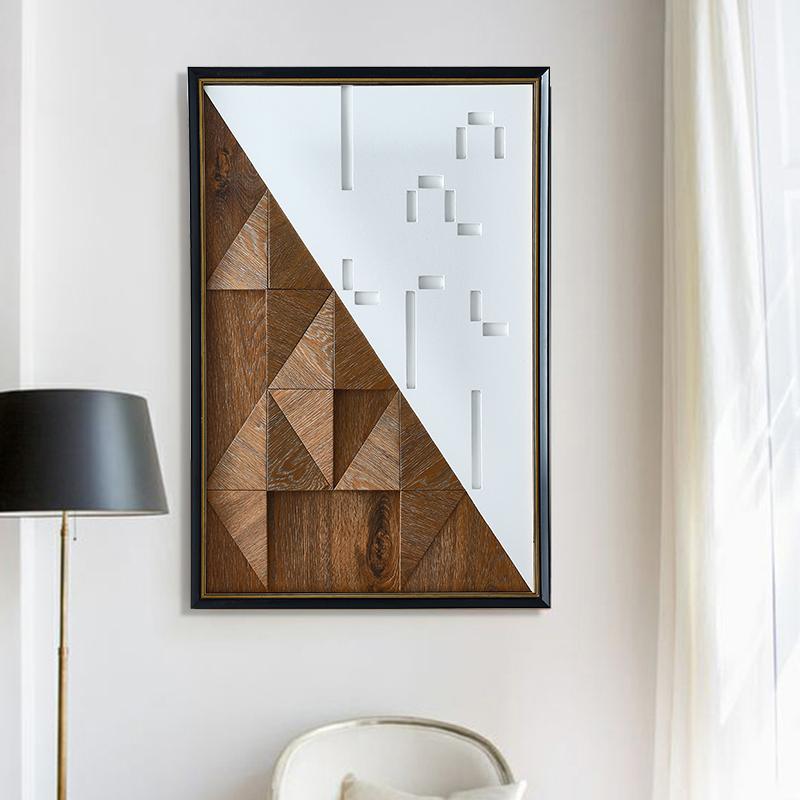 现代玄关抽象实物挂画-几何拼图