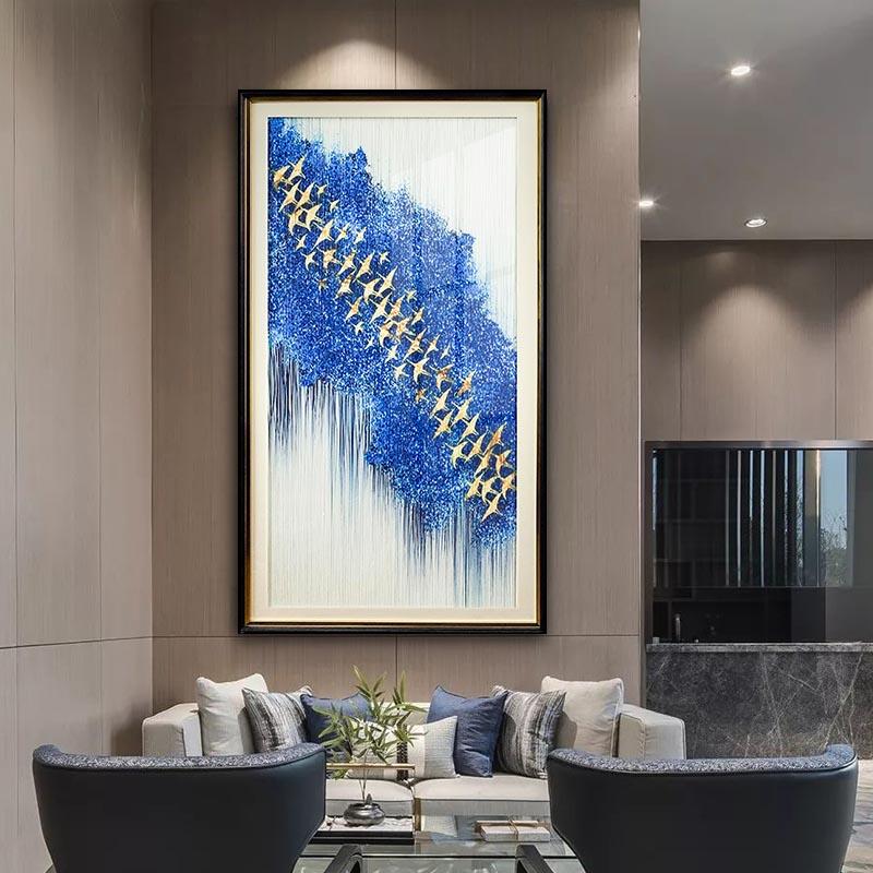 现代简约入户玄关竖版抽象装饰画客厅走廊壁画千思万絮