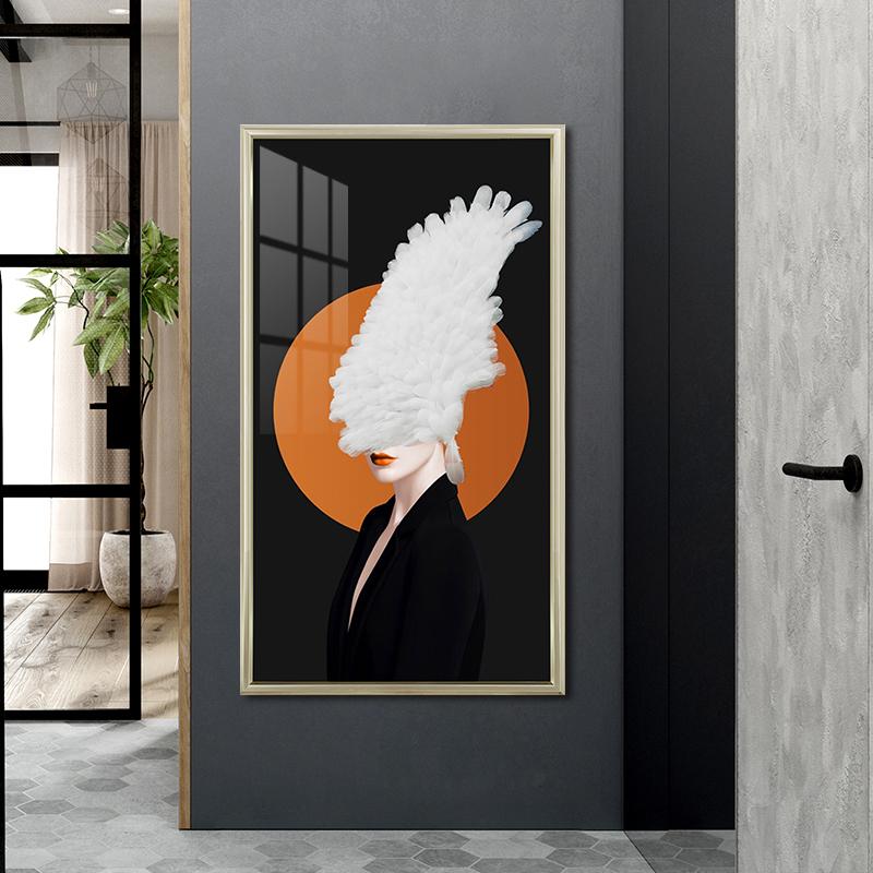 北欧玄关装饰画酒店大堂竖版装饰画美女图